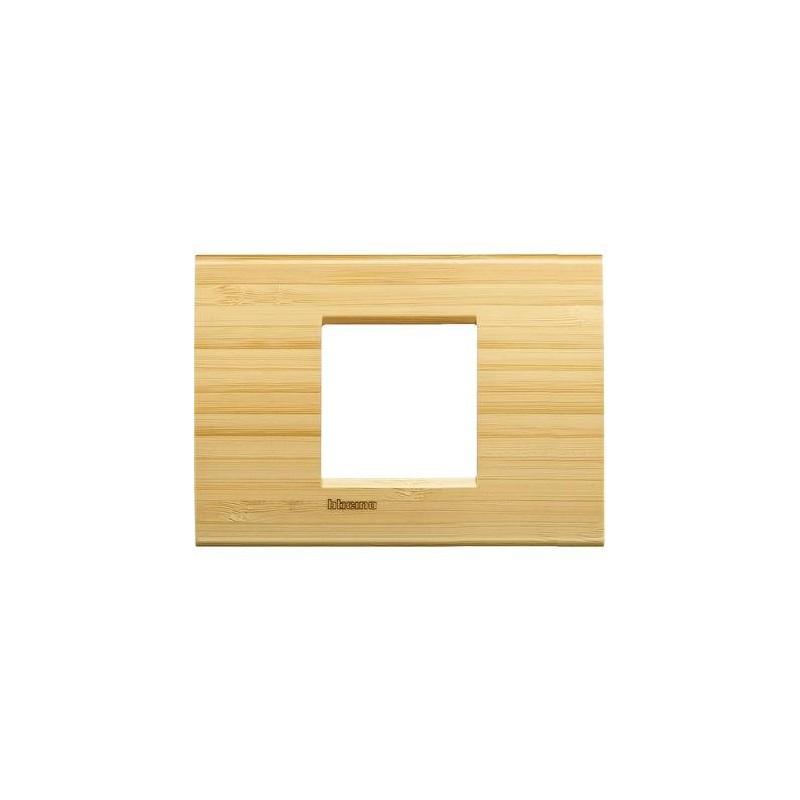 Placa Rectangular 2 Módulos Bambú LNA4819LBA Bticino Livinglight