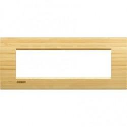 Placa Rectangular Bticino Livinglight 7 Módulos Bambú LNA4807LBA