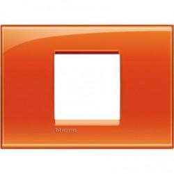 Placa Rectangular 2 Módulos Bticino Livinglight Naranja LNA4819OD