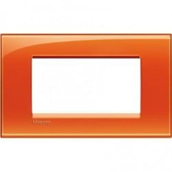 Placa Rectangular Bticino Livinglight 4 Módulos LNA4804OD Naranja