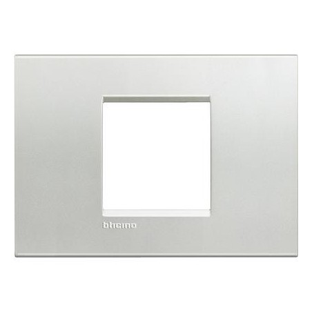 Placa Rectangular 2 Módulos Bticino Livinglight LNA4819AG Plata