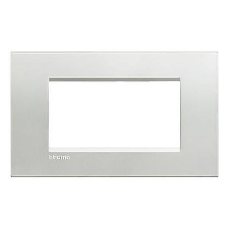 Placa Rectangular Bticino Livinglight 4 Módulos LNA4804AG Plata