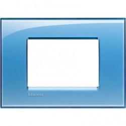 Placa Rectangular 3 Módulos Azul LNA4803AD BTicino Livinglight