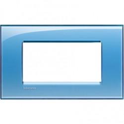 Placa Rectangular 4 Módulos Bticino Livinglight Azul LNA4804AD