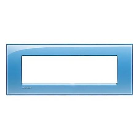 Placa Rectangular Bticino Livinglight 7 Módulos Azul LNA4807AD