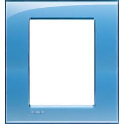Placa Rectangular Azul 3+3 Módulos LNA4826AD Bticino Livinglight
