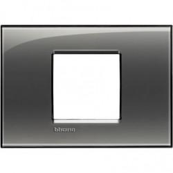 Placa Rectangular 2 Módulos Fumé LNA4819KF Bticino Livinglight
