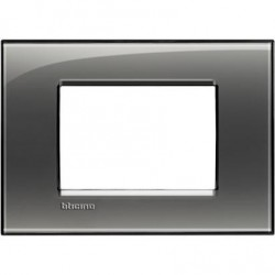 Placa Rectangular 3 Módulos LNA4803KF Fumé BTicino Livinglight