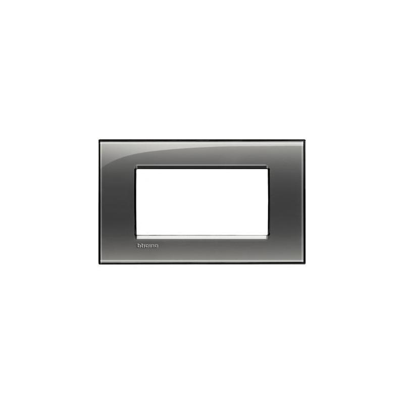 Placa Rectangular Bticino Livinglight 4 Módulos LNA4804KF Fumé