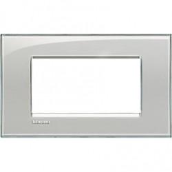 Placa Rectangular Bticino Livinglight 4 Módulos LNA4804KG Gris hielo