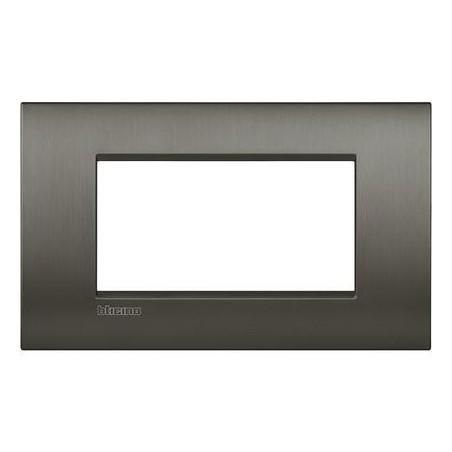 Placa rectangular 4 Módulos Bticino LNC4804NIS Livinglight Air Niquel