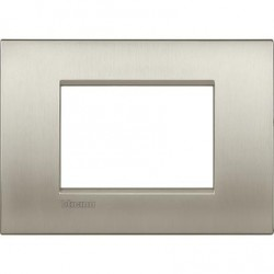 Placa rectangular 3 Módulos Bticino LNC4803TIS Titanio Livinglight AIR