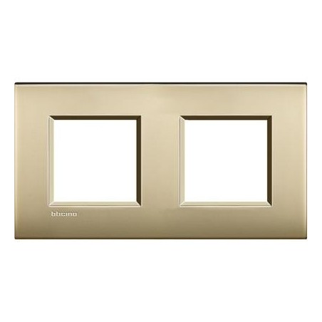 Placa 2 Ventanas Oro Satinado LNE4802M2OF Livinglight AIR BTicino