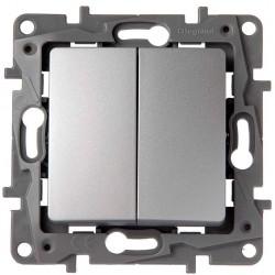 Doble Interruptor-Conmutador Aluminio 665302 Legrand Niloé