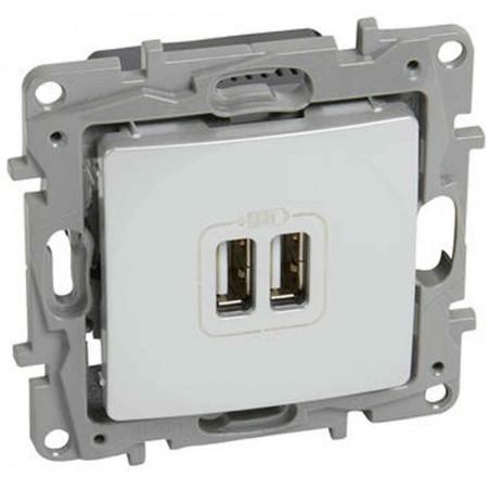 Base Cargador Doble USB Blanco 664794 Legrand Niloé