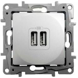 Base Cargador Doble USB Aluminio 665394 Legrand Niloé