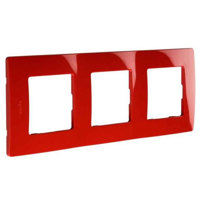 Placa Embellecedora 3 Elementos Rojo 665023 Legrand Niloé