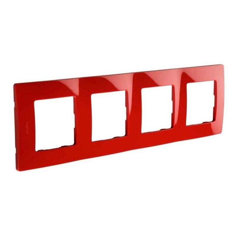 Placa Embellecedora 4 Elementos Rojo 665024 Legrand Niloé