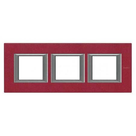 Placa 3 Ventanas Rojo China BTicino Axolute HA4802M3HRC