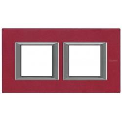 Placa 2 Ventanas Rojo China HA4802M2HRC BTicino Axolute