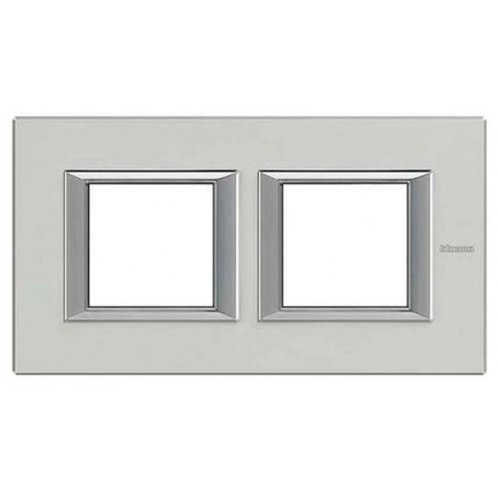 Placa 2 Ventanas Aluminio Pulido HA4802M2HXC BTicino Axolute