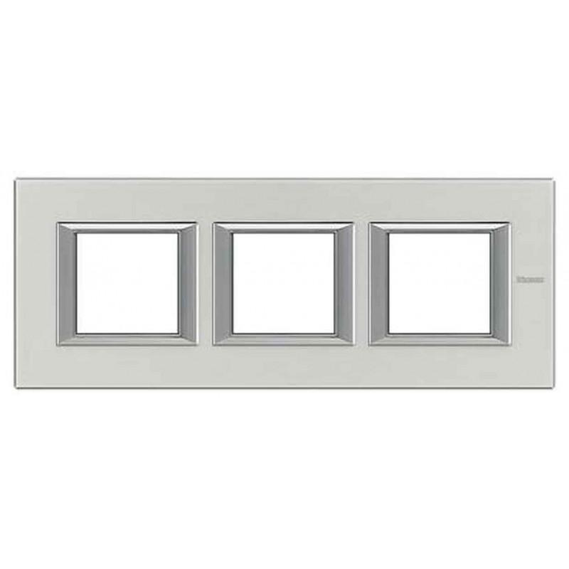 Placa 3 Ventanas Aluminio Pulido Axolute HA4802M3HXC BTicino