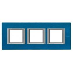 Placa 3 Ventanas Axolute Azul Meissen HA4802M3HBM BTicino