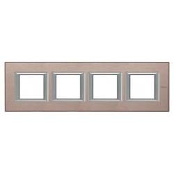 Placa BTicino Axolute 4 ventanas HA4802M4HNX Titanio satinado