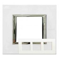 Placa Axolute 3 ventanas Blanco Limoges HA4802M3HBG BTicino