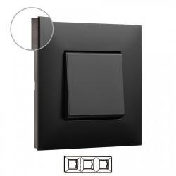 Placa 3 Elementos Dark Cromo oscuro Valena Next 741063 Legrand