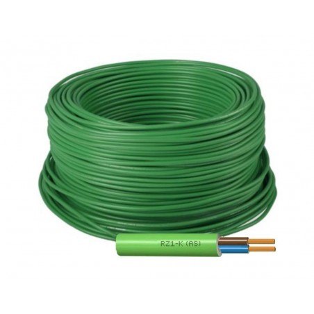 Manguera Eléctrica Flexible Verde Libre de Halógenos 2x6 RZ1-K 1000V
