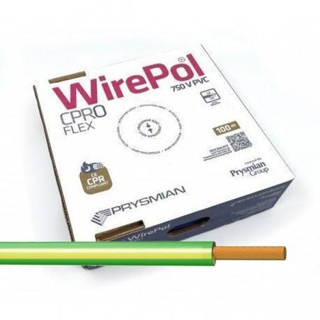 Cable flexible 6 mm² Amarillo-Verde H07V-K6AV 100 Metros