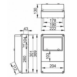 Cuadro eléctrico 9 Módulos 2 Bases 3P+T 2 Bases 2P+TT IP67 V8MC2/67 IDE