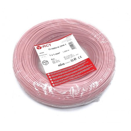 Cable flexible normal 1 mm² Rosa H05V-K1RS 200 Metros