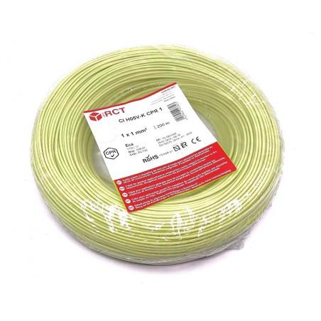 Cable eléctrico unipolar 1 mm² Amarillo H05V-K1VAM 200 Metros