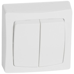 Conmutador Doble Blanco 10A Legrand Oteo 086020
