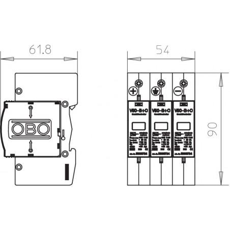 Descargador sobretensiones DC - Tipo 2 - Fotovoltaica - 1000Vdc
