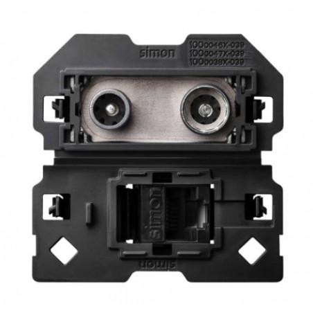 Toma R-TV+SAT Final con Conector RJ45 Simon 100 10000472-039