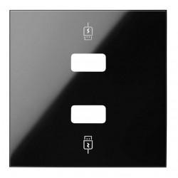 Tapa Cargador USB 2 Entradas Simon 100 Negro 10001096-138