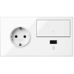 Kit Front Base + Cargador USB + Tecla Simon 100 Blanco 10020207-130