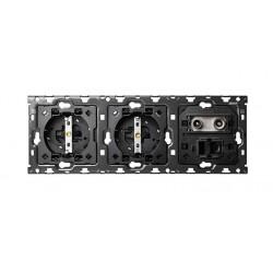 Kit Back 2 Enchufes + TV + RJ45 Simon 100 10010303-039