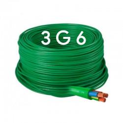 Manguera Eléctrica Flexible Verde Libre de Halógenos 3x6 RZ1-K 1Kv.