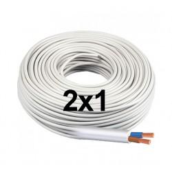 Manguera Eléctrica Blanca 2x1 Cable Flexible H05VV-F 500V