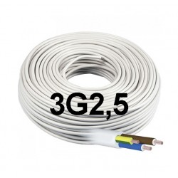 Manguera Eléctrica Blanca 3G2,5 Cable Flexible H05VV-F 500V