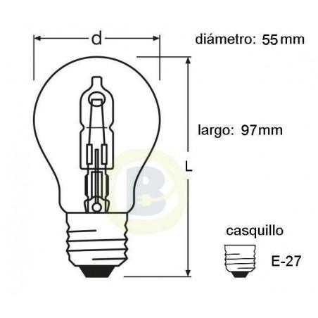 Bombilla Halógena Clásica 57W. 230 V. Casquillo E-27 Osram