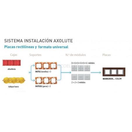 Placa 3 Ventanas Axolute HA4802M3HXS Antracita satinado BTicino