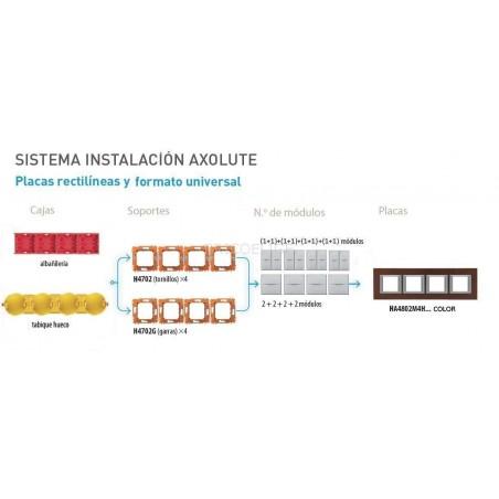 Placa BTicino Axolute 4 Ventanas HA4802M4HHD Blanco