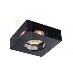 Aro Cuadrado Fijo Cristal Negro Empotrable para Bombillas Halógenas y Led