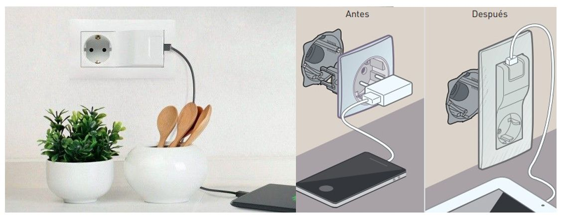 base 2P+T y cargador USB Legrand Niloe